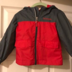 Columbia rain/spring jacket red & grey 3t
